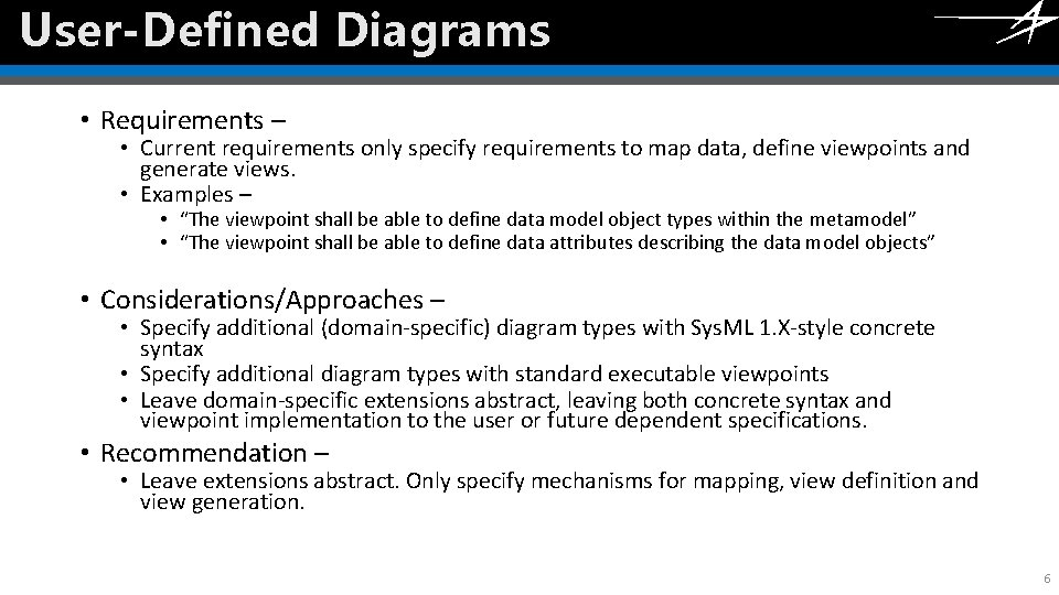 User-Defined Diagrams Click to edit Master title style • Requirements – • Current requirements