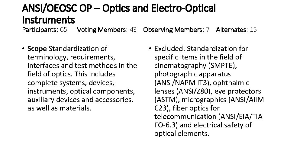 ANSI/OEOSC OP – Optics and Electro-Optical Instruments Participants: 65 Voting Members: 43 Observing Members: