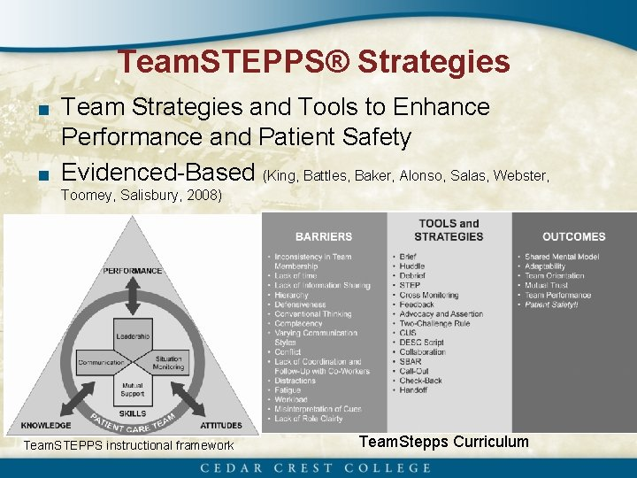 Team. STEPPS® Strategies ■ Team Strategies and Tools to Enhance Performance and Patient Safety