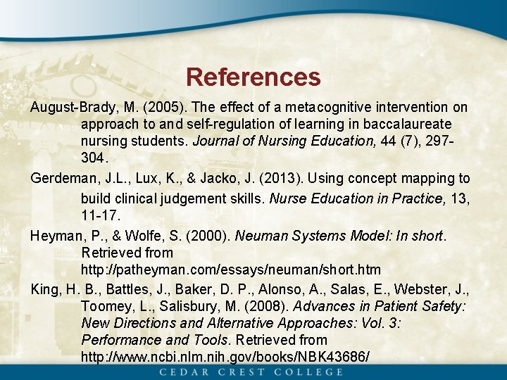 References August-Brady, M. (2005). The effect of a metacognitive intervention on approach to and