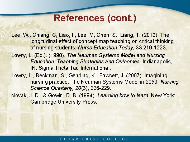References (cont. ) Lee, W. , Chiang, C, Liao, I. , Lee, M, Chen,