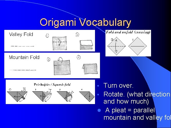 Origami Vocabulary Turn over. • Rotate. (what direction and how much) l A pleat