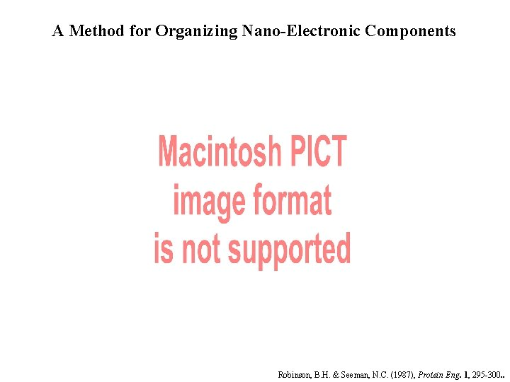 A Method for Organizing Nano-Electronic Components Robinson, B. H. & Seeman, N. C. (1987),