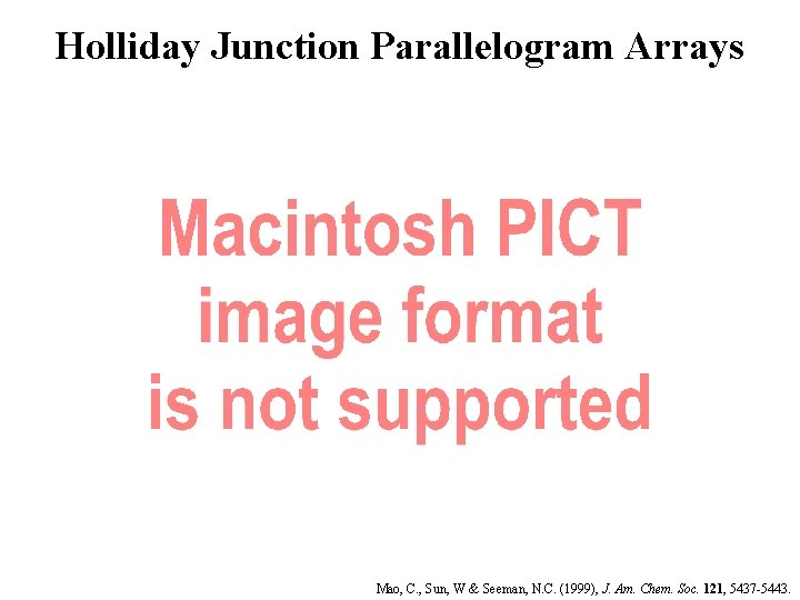 Holliday Junction Parallelogram Arrays Mao, C. , Sun, W & Seeman, N. C. (1999),