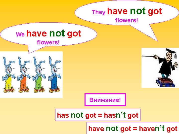 not got They have flowers! not got We have flowers! Внимание! has not got