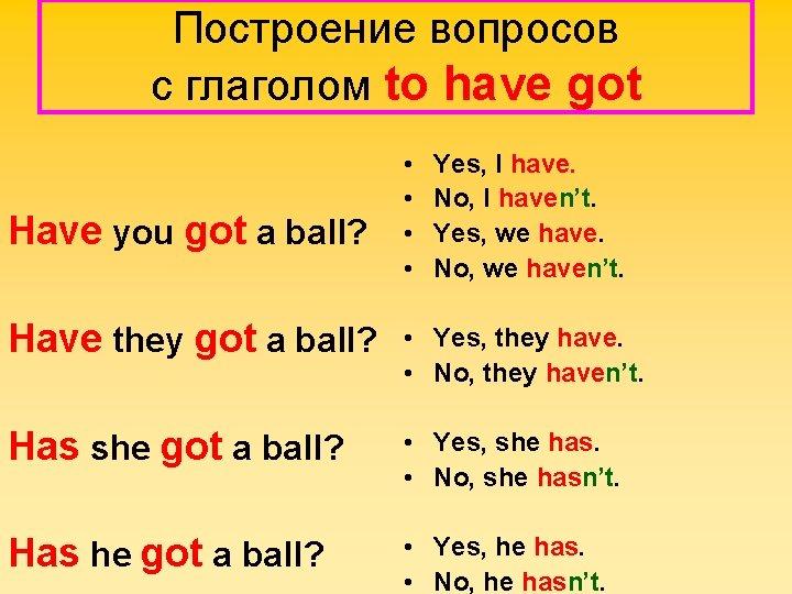 Построение вопросов с глаголом to have got Have you got a ball? • •