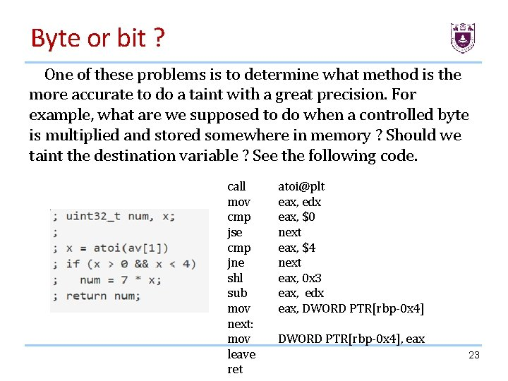 Byte or bit ? One of these problems is to determine what method is