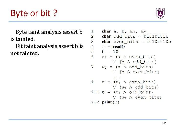 Byte or bit ? Byte taint analysis assert b is tainted. Bit taint analysis