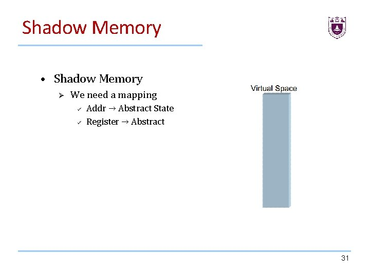 Shadow Memory • Shadow Memory Ø We need a mapping ü ü Addr →