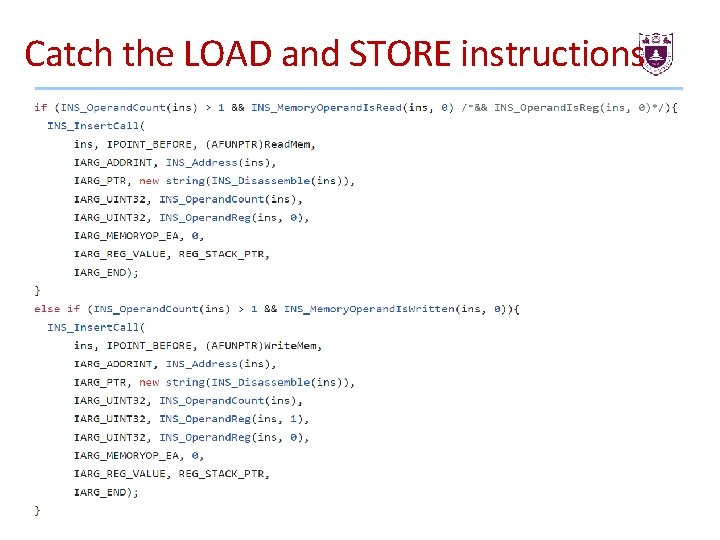 Catch the LOAD and STORE instructions 41