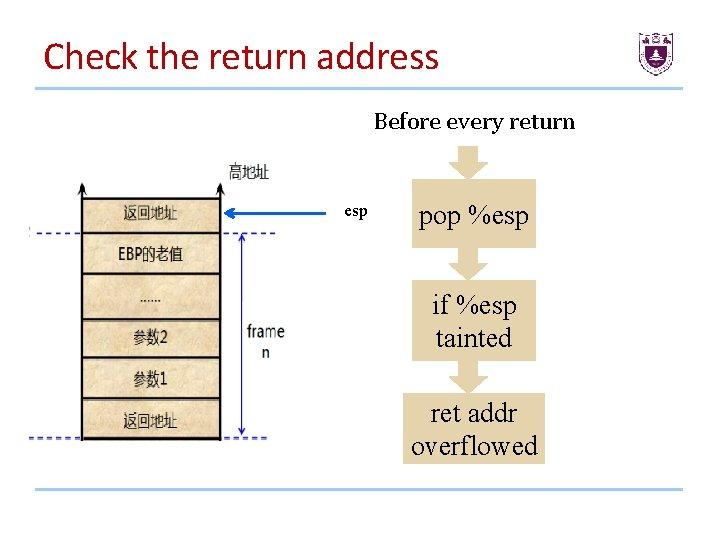 Check the return address Before every return esp pop %esp if %esp tainted ret