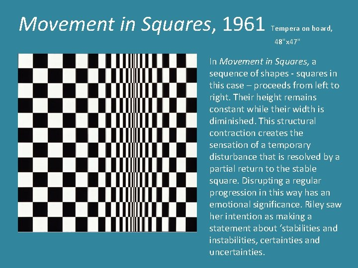 """Movement in Squares, 1961 Tempera on board, 48""""x 47"""" In Movement in Squares, a"""