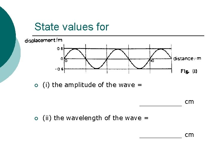 State values for ¡ (i) the amplitude of the wave = cm ¡ (ii)