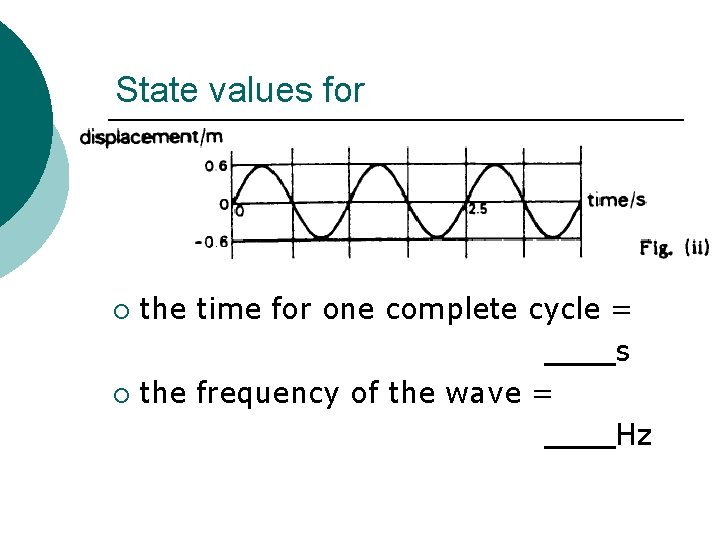 State values for the time for one complete cycle = s ¡ the frequency