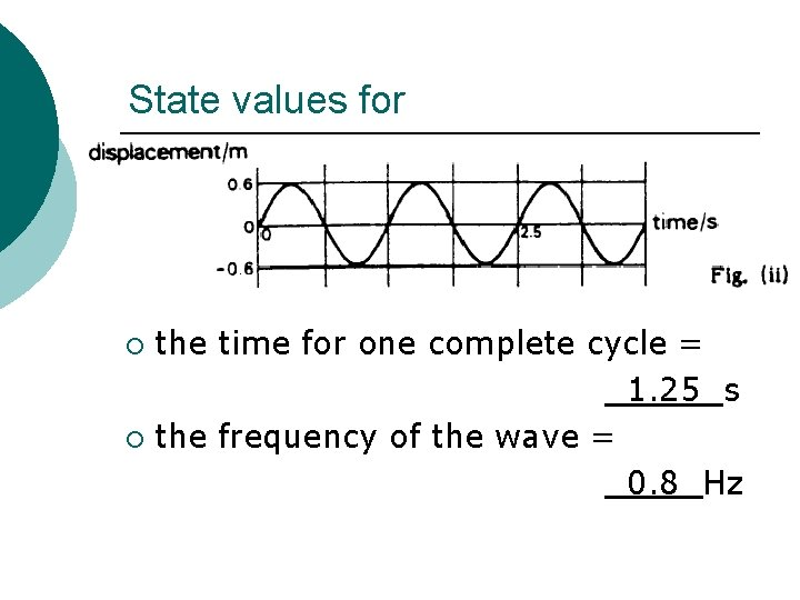 State values for the time for one complete cycle = 1. 25 s ¡