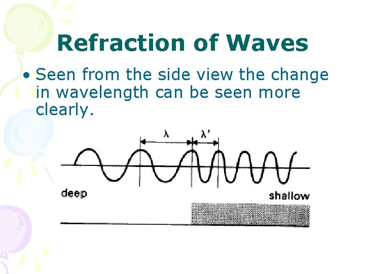 Refraction of Waves • Seen from the side view the change in wavelength can