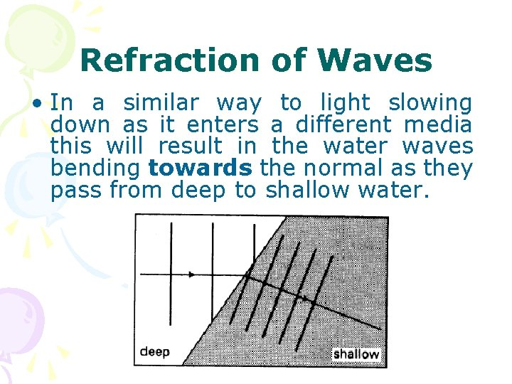 Refraction of Waves • In a similar way to light slowing down as it
