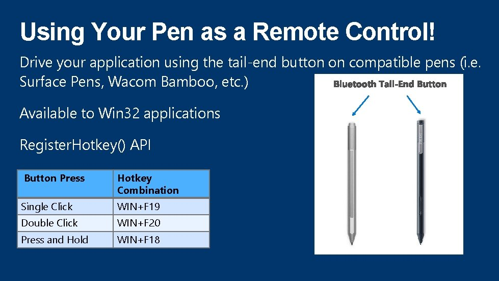 Using Your Pen as a Remote Control! Drive your application using the tail-end button