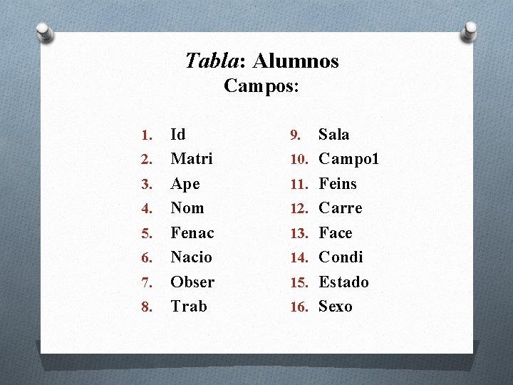 Tabla: Alumnos Campos: 1. 2. 3. 4. 5. 6. 7. 8. Id Matri Ape