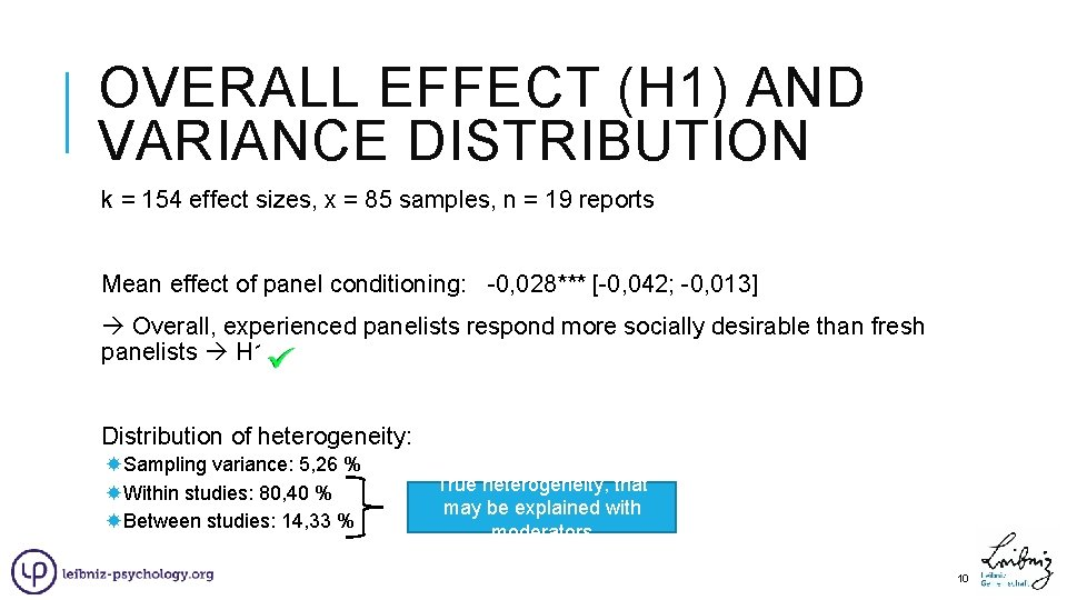 OVERALL EFFECT (H 1) AND VARIANCE DISTRIBUTION k = 154 effect sizes, x =