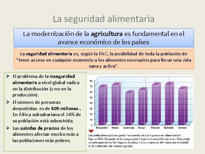 La seguridad alimentaria La modernización de la agricultura es fundamental en el avance económico