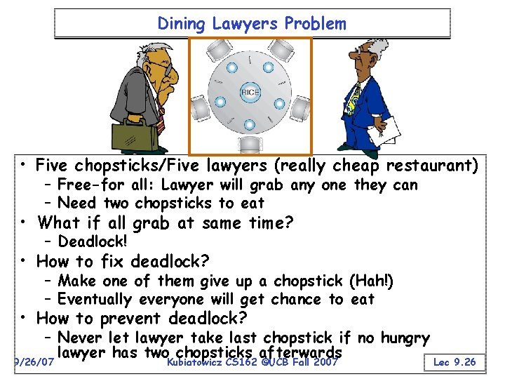 Dining Lawyers Problem • Five chopsticks/Five lawyers (really cheap restaurant) – Free-for all: Lawyer