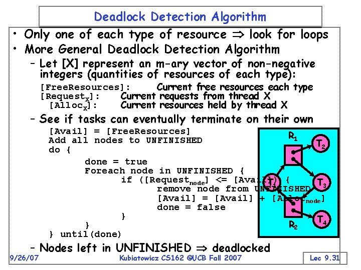 Deadlock Detection Algorithm • Only one of each type of resource look for loops