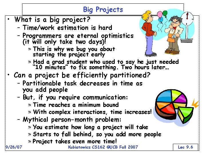 Big Projects • What is a big project? – Time/work estimation is hard –
