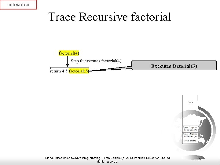 animation Trace Recursive factorial Executes factorial(3) Liang, Introduction to Java Programming, Tenth Edition, (c)