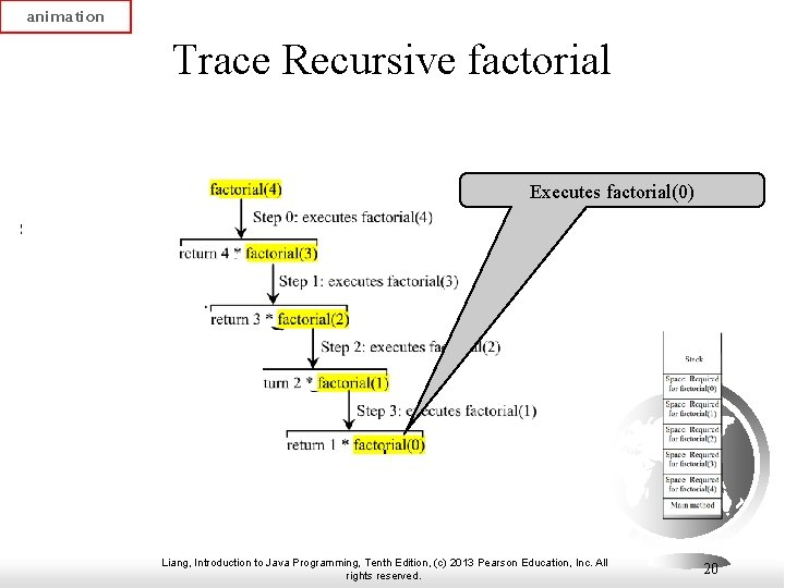 animation Trace Recursive factorial Executes factorial(0) Liang, Introduction to Java Programming, Tenth Edition, (c)