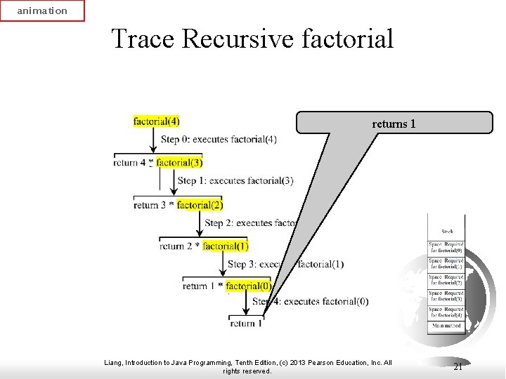 animation Trace Recursive factorial returns 1 Liang, Introduction to Java Programming, Tenth Edition, (c)