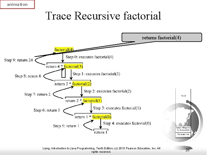 animation Trace Recursive factorial returns factorial(4) Liang, Introduction to Java Programming, Tenth Edition, (c)