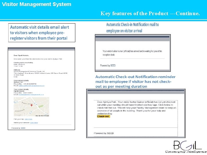 Visitor Management System Key features of the Product ---Continue.