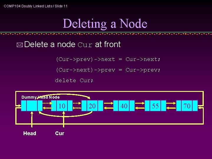 COMP 104 Doubly Linked Lists / Slide 11 Deleting a Node * Delete a