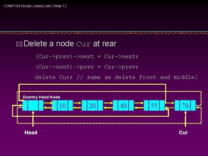 COMP 104 Doubly Linked Lists / Slide 13 * Delete a node Cur at