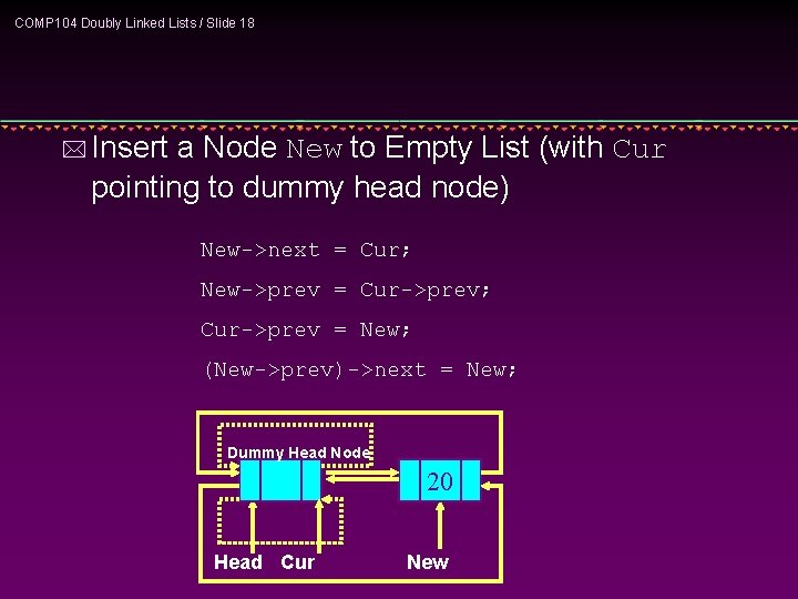 COMP 104 Doubly Linked Lists / Slide 18 * Insert a Node New to