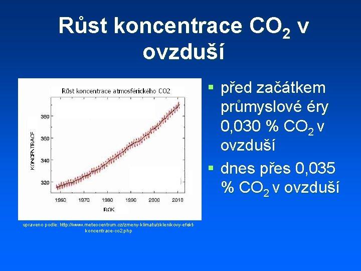Růst koncentrace CO 2 v ovzduší § před začátkem průmyslové éry 0, 030 %