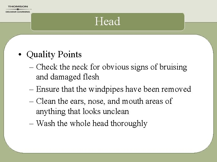 Head • Quality Points – Check the neck for obvious signs of bruising and