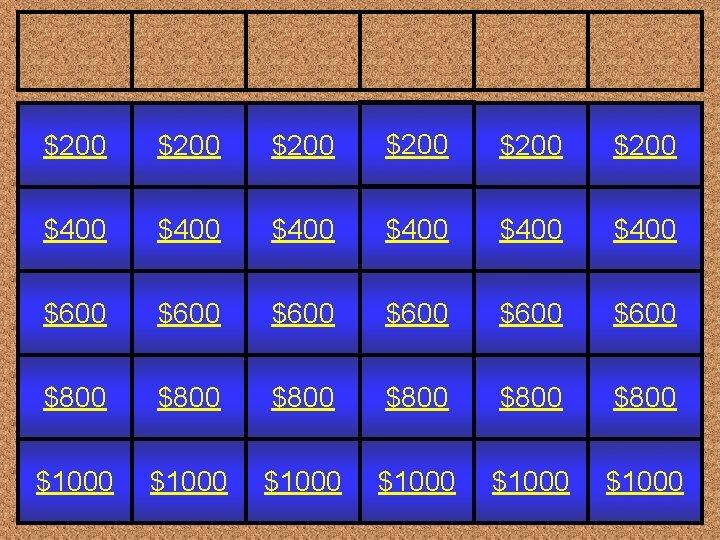 $200 $200 $400 $400 $600 $600 $800 $800 $1000 $1000