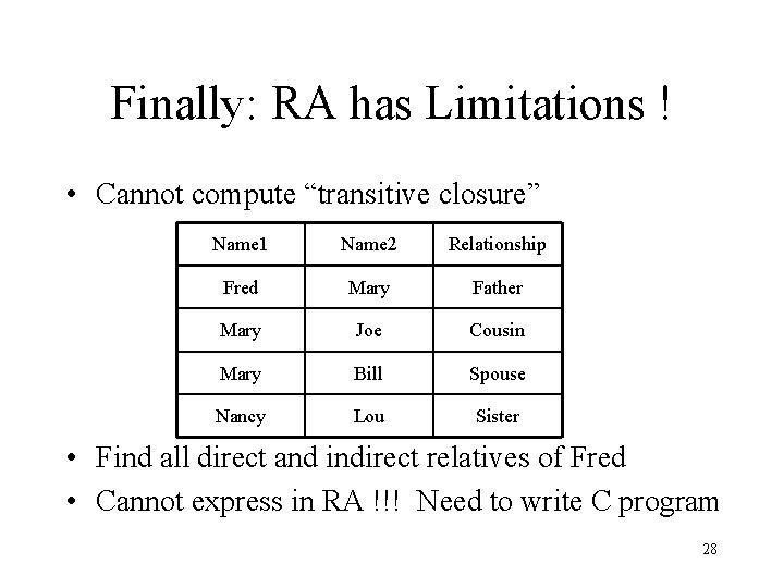 "Finally: RA has Limitations ! • Cannot compute ""transitive closure"" Name 1 Name 2"
