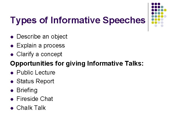 Types of Informative Speeches l l l Describe an object Explain a process Clarify