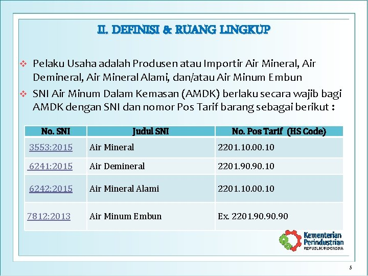 II. DEFINISI & RUANG LINGKUP Pelaku Usaha adalah Produsen atau Importir Air Mineral, Air