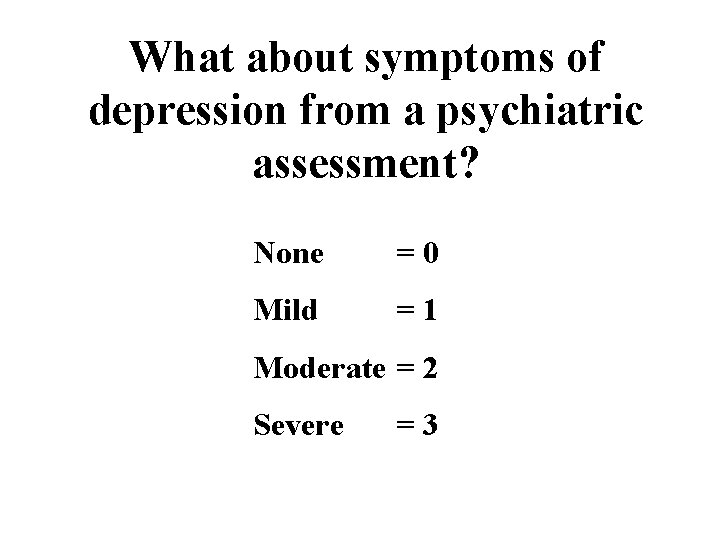 What about symptoms of depression from a psychiatric assessment? None =0 Mild =1 Moderate