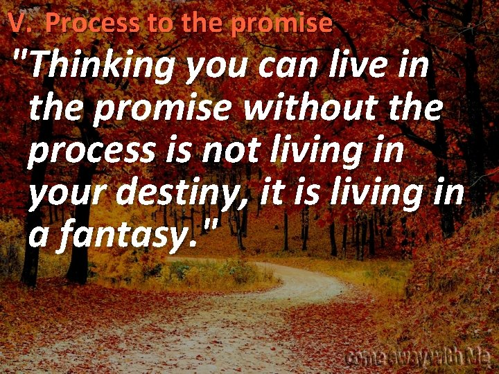 """V. Process to the promise """"Thinking you can live in the promise without the"""