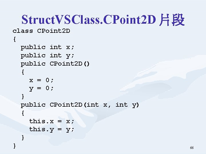 Struct. VSClass. CPoint 2 D 片段 class CPoint 2 D { public int x;