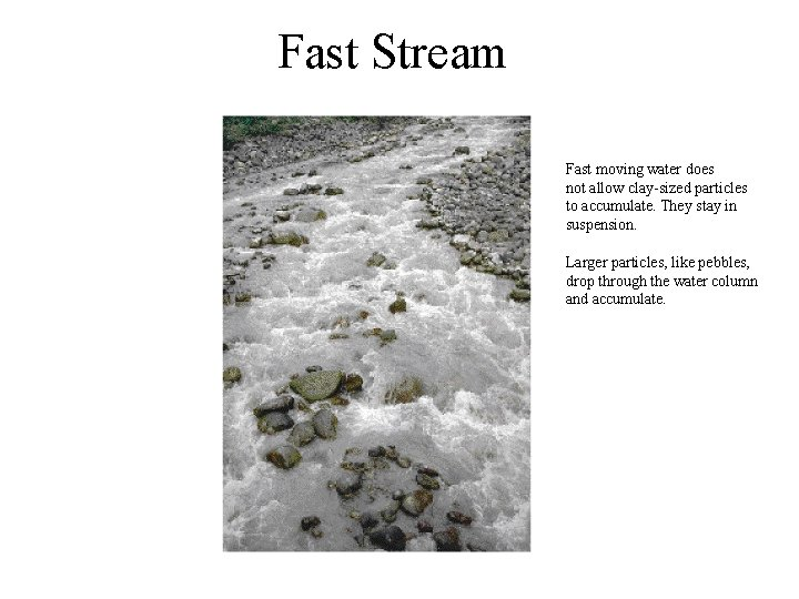 Fast Stream Fast moving water does not allow clay-sized particles to accumulate. They stay