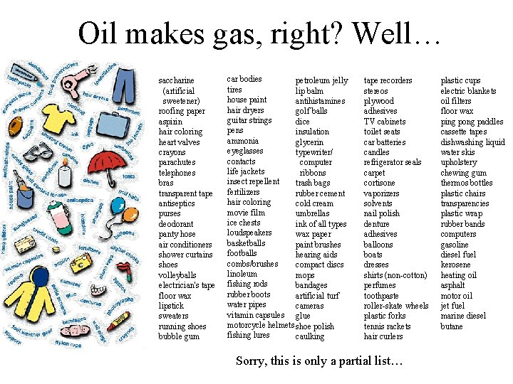 Oil makes gas, right? Well… saccharine (artificial sweetener) roofing paper aspirin hair coloring heart