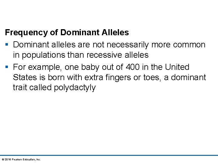 Frequency of Dominant Alleles § Dominant alleles are not necessarily more common in populations