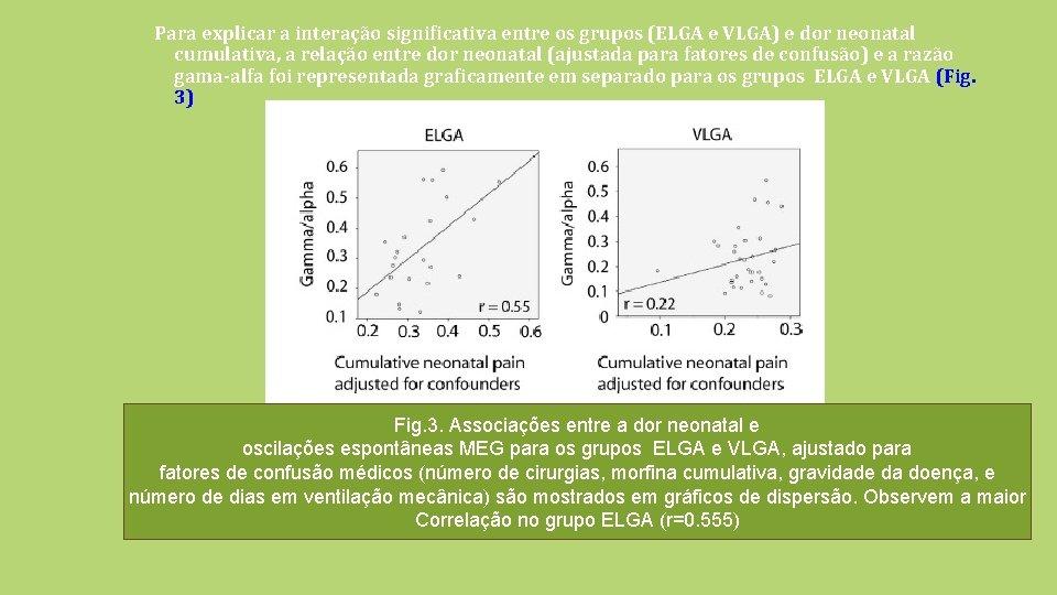 Para explicar a interação significativa entre os grupos (ELGA e VLGA) e dor neonatal