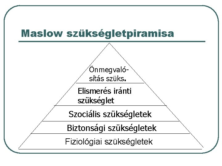 Maslow szükségletpiramisa Önmegvalósítás szüks. Elismerés iránti szükséglet Szociális szükségletek Biztonsági szükségletek Fiziológiai szükségletek
